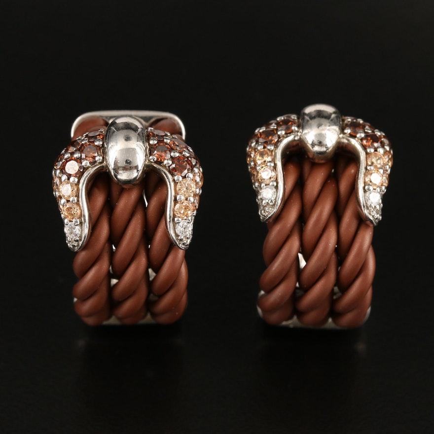Belle Ètoile Sterling Belt Buckle J Hoop Earrings