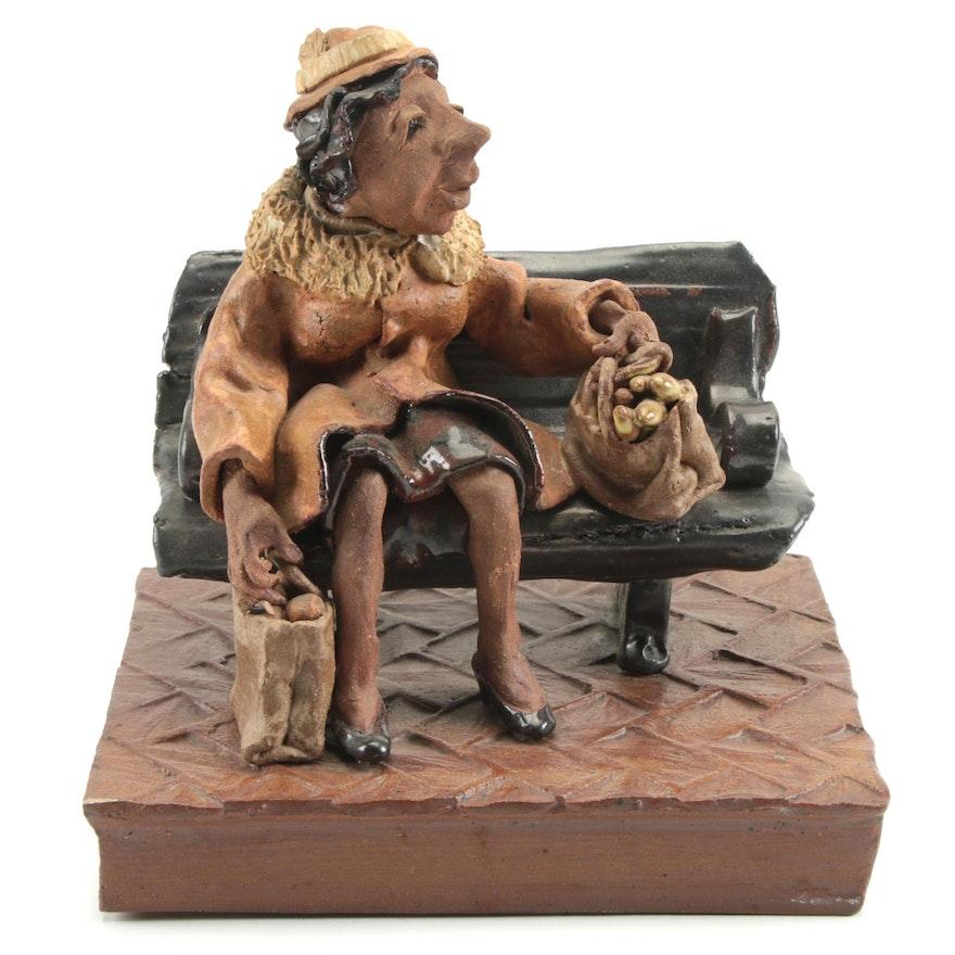 "Susan G. Healy Glazed Ceramic Sculpture ""Bus Stop,"" Late 20th Century"