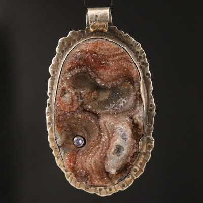 Signed Sterling Druzy and Tanzanite Pendant