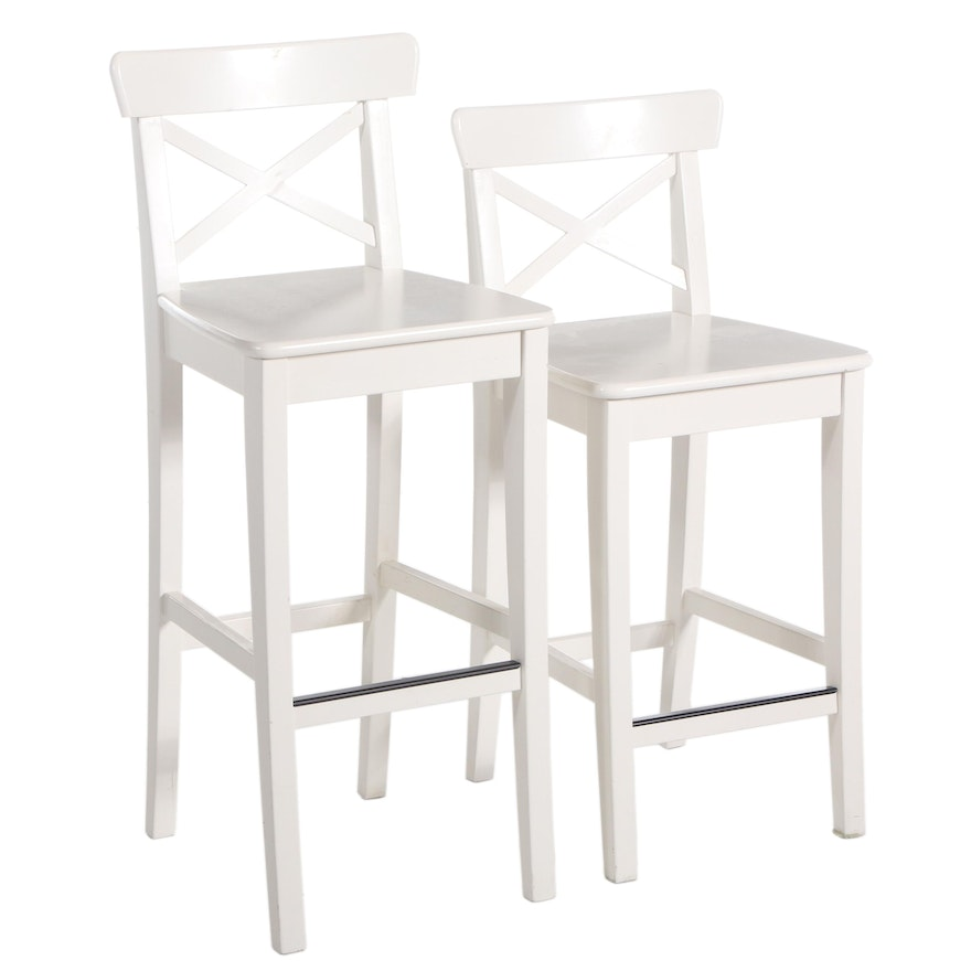 """Two IKEA """"Ingolf"""" White-Painted Wood Barstools of Varying Height"""
