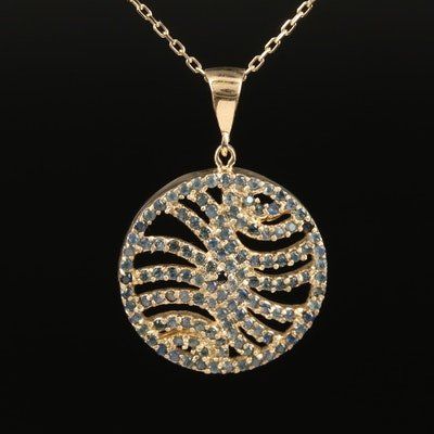 14K Sapphire Openwork Circular Pendant Necklace