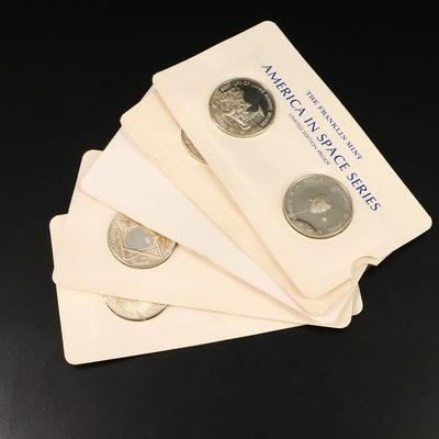 """Nine Franklin Mint """"America In Space"""" Series Silver Commemorative Medals"""