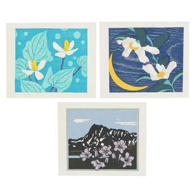 Japanese Woodblocks of Floral Motifs Attributed to Yasushi Ohmoto and More
