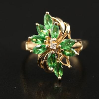 14K Tsavorite and Diamond Ring