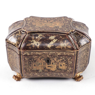 Chinese Export Lacquerware Tea Caddy with Chased Pewter Canisters, 19th Century