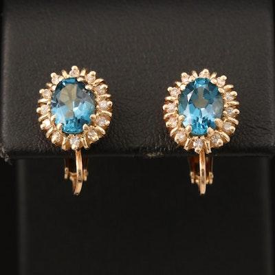 14K Topaz and Diamond Screw Back Earrings