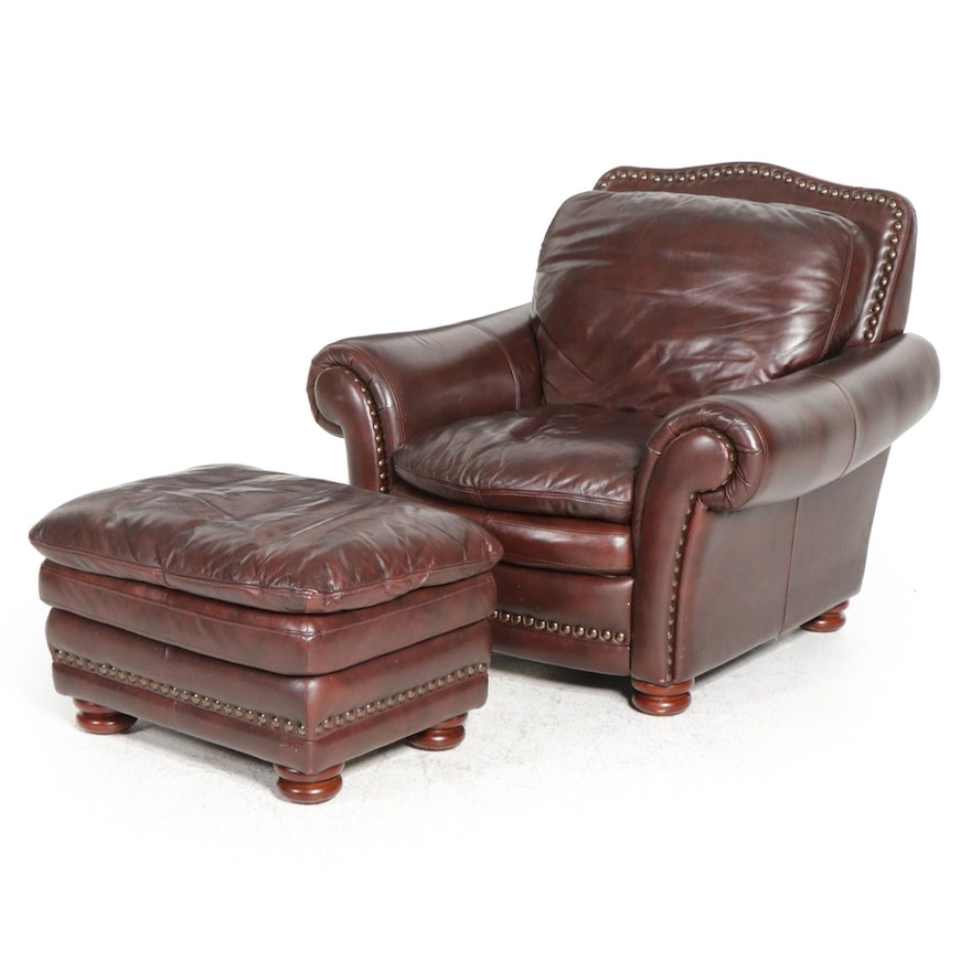 American Signature Leather Armchair and Ottoman
