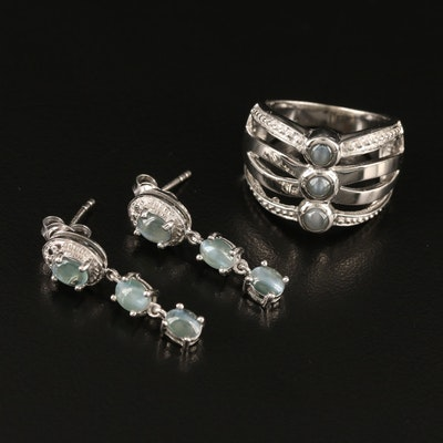 Sterling Color Changing Cat's Eye Alexandrite Ring and Earrings