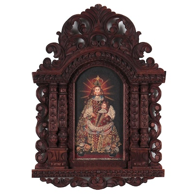 Cuzco Style Oil Painting of Madonna and Child