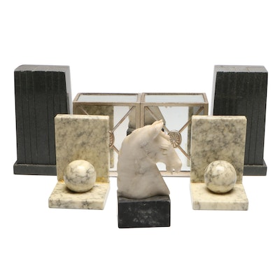 Marble and Other Bookends, Mid to Late 20th Century