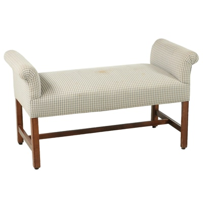 Upholstered Chippendale Style Bedside Bench, Late 20th Century