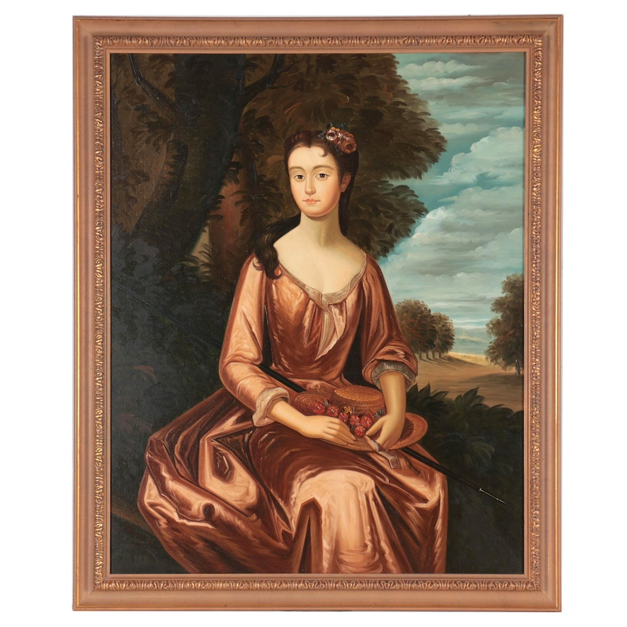 Oil Painting After a Portrait of Evelyn Byrd