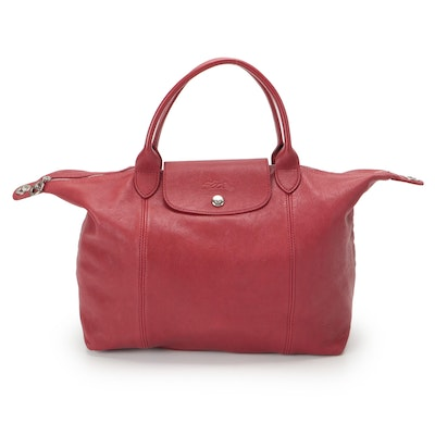 Longchamp Le Pliage Cuir Convertable Satchel in Red Leather