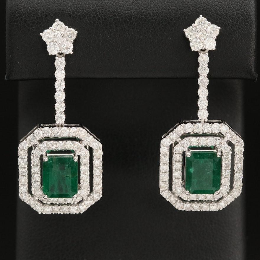 14K 4.63 CTW Emerald and Diamond Drop Earrings