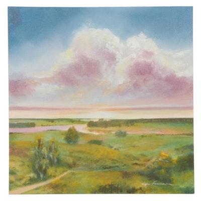 Inga Khanarina Verdant Landscape Oil Painting, 21st Century
