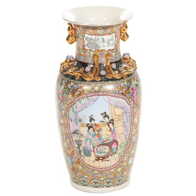 Chinese Famille Rose Ceramic Floor Vase, Late 20th Century