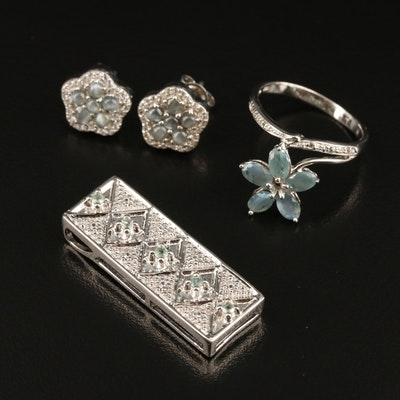 Sterling Jewelry Including Cat's Eye Alexandrite, White Zircon and Alexandrite