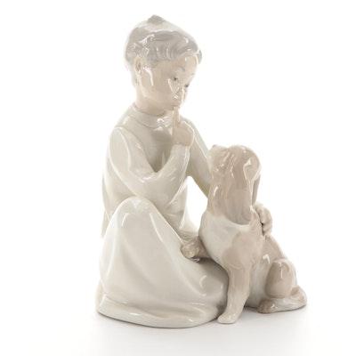 """Lladró """"Boy with Dog"""" Porcelain Figurine Designed by Vicente Martínez"""