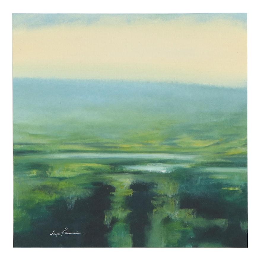 Inga Khanarina Landscape Oil Painting of Rolling Hills, 21st Century
