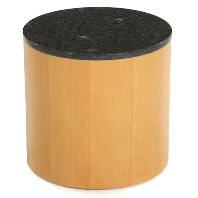 """Cumberland """"Geometrics"""" Modernist Style Maple and Marble Top Round Side Table"""