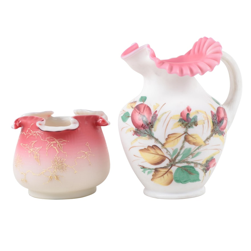 Victorian Satin Glass Hand-Painted Pitcher and Rose Bowl, Antique