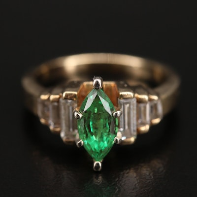 10K Emerald and Cubic Zirconia  Ring
