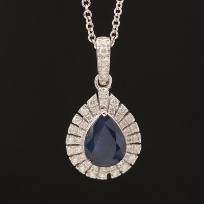 EFFY 14K 1.15 CT Sapphire and Diamond Pendant Necklace