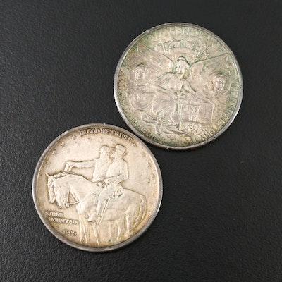 1934 Texas Centennial and 1925 Stone Mountain Commemorative Silver Half Dollars