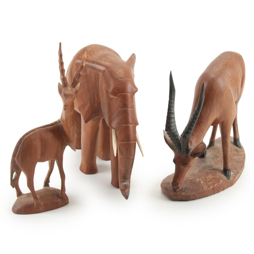 Hand-Carved Wood and Bone Elephant and Antelope