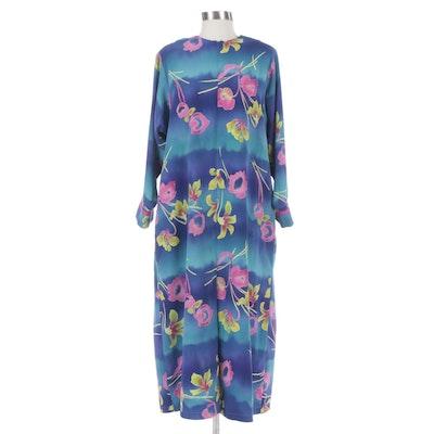 Georgette Trabolsi Kick Pleat Maxi Dress in Watercolor Style Florals