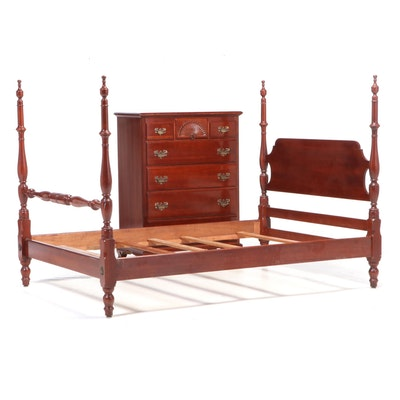 Kling American Colonial Style Cherry Chest and Full Size Four-Post Bed