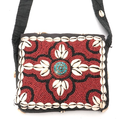 Quilted Crossbody Bag Embellished with Cowrie Shells, Beads and Turquoise