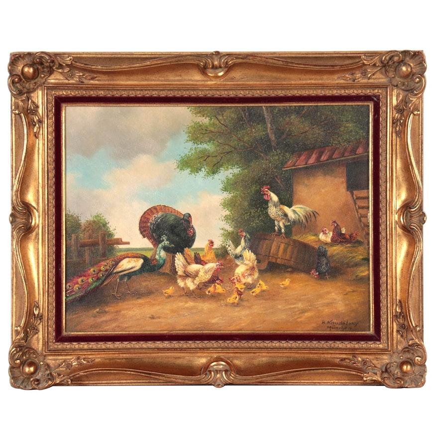 Bogdan Kaudetzky Oil Painting of a Bird Yard, 20th Century