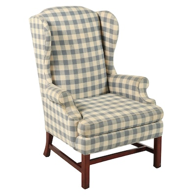 Laine Upholstering Co. Chippendale Style Mahogany Wingback Armchair