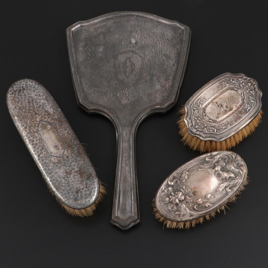 Art Nouveau Sterling Silver and Metal Vanity Brushes with Art Deco Hand Mirror