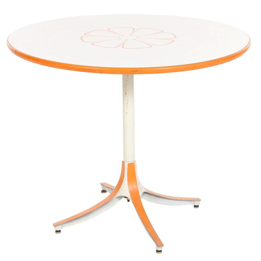 Mid Century Modern Orange Floral Bistro Table, 1979