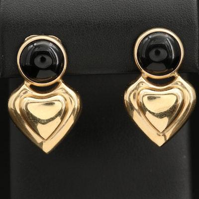 14K Black Onyx Heart Earrings