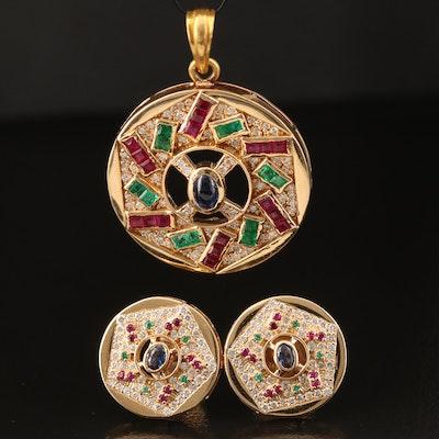 18K Diamond and Gemstone Pendant and Earring Set