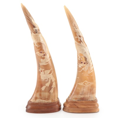 Chinese Hand-Carved Dragon and Bird Motif Horns