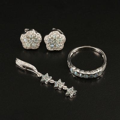 Sterling Cat's Eye Alexandrite and Zircon Flower Jewelry