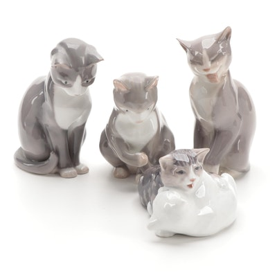 Bing & Grøndahl and Royal Copenhagen Porcelain Cat Figurines