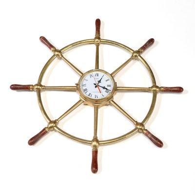 """U.S. Maritime Commission"" Brass and Hardwood Ship's Wheel Wall Clock"