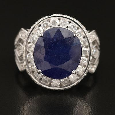 14K Corundum and 2.14 CTW Diamond Halo Ring