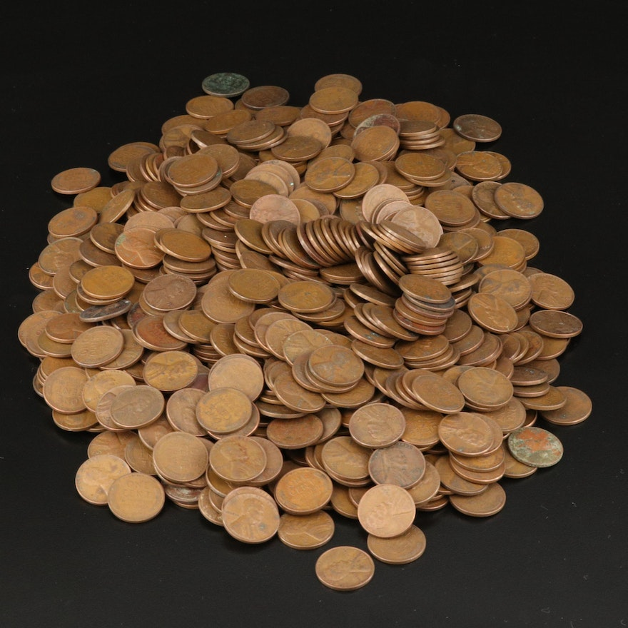 Large Collection of Lincoln Wheat Cents, 1930s–1950s