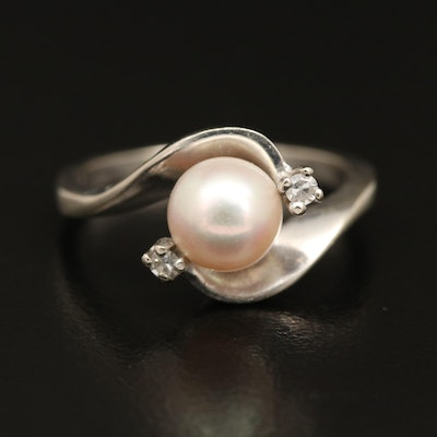 14K Pearl and Diamond Ring