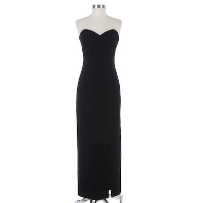 A.J. Bari Strapless Evening Dress in Black Velvet with Sweetheart Bodice