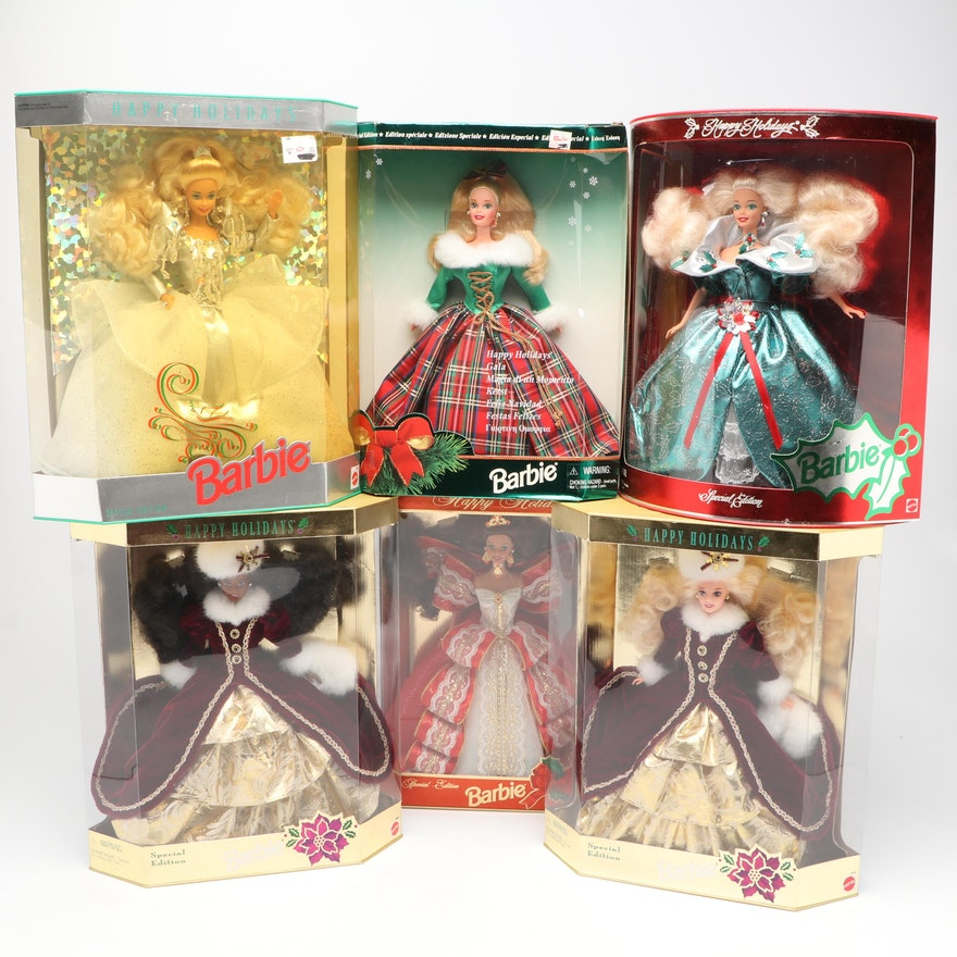 Mattel Holiday Barbie Dolls in Boxes