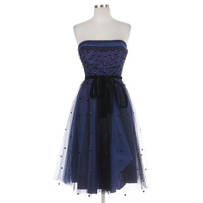 Rhinestone Velveteen Dot Embellished Mesh Overlay Strapless Occasion Dress