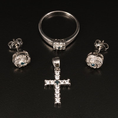 Sterling Diamond and Zircon Ring, Earrings and Cross Pendant