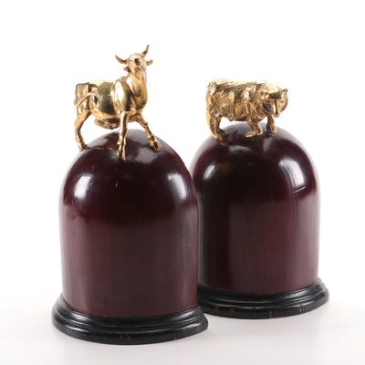 Solid Brass Bull and Bear Wall Street Wood Bookends, Late 20th Century